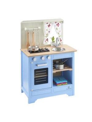 """Musterkind Spielküche Kinderküche aus Holz """"Lavandula"""" Creme/Blau"""